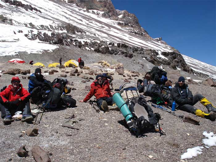 Rest stop on Aconcagua expedition